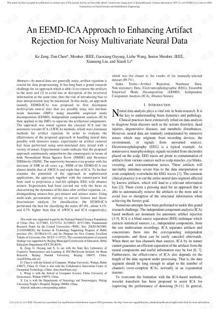 EEMD-ICA方法可增强噪声多变量神经数据的伪像抑制