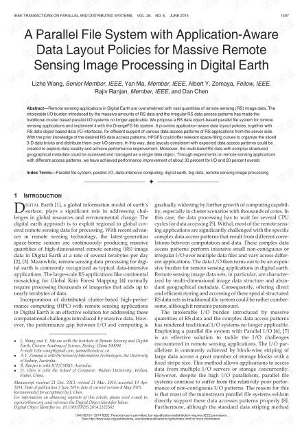 具有应用感知数据布局策略的并行文件系统,用于数字地球中的大规模遥感图像处理
