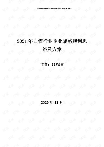 2021年白酒行业企业战略规划思路及方案.pdf