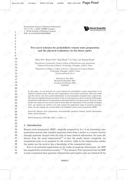 概率远程状态准备和通过线性光学实现物理实现的两种新方案