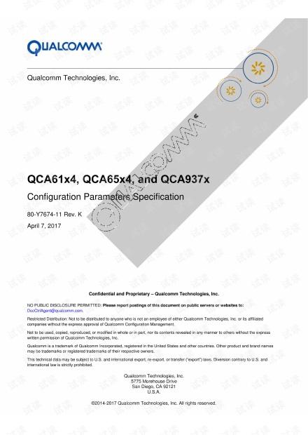 QCOM骁龙处理器开发技术说明书 - QCA61X4 QCA65X4 QCA937X 配置指南.pdf