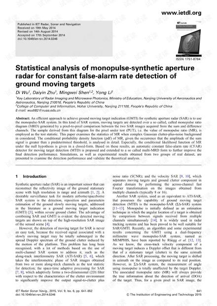 单脉冲合成Kong径雷达对地面移动目标的持续虚警率检测的统计分析