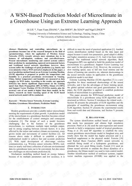 基于极限学习方法的基于WSN的温室微气候预测模型