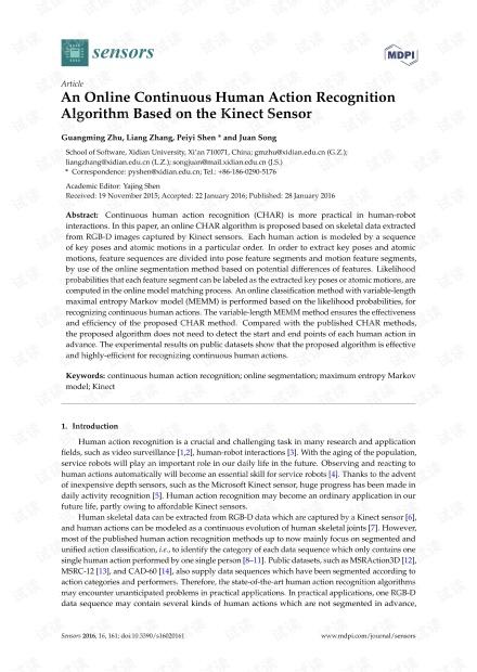 基于Kinect传感器的在线连续人体动作识别算法。