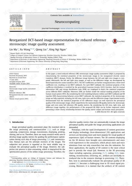 重组基于DCT的图像表示,以减少参考立体图像质量评估