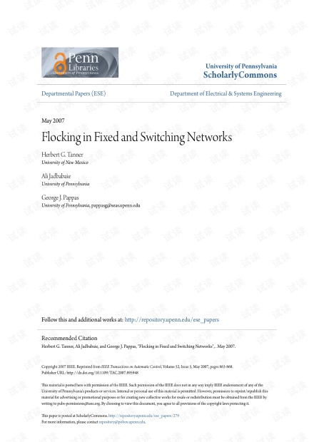 Flocking in fixed and switching networks.pdf