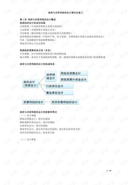 成都理工大学《政府与非营利组织会计》期末知识点复习.pdf