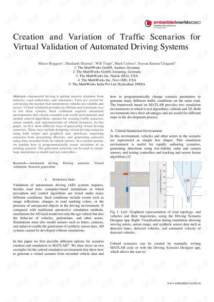 用于自动驾驶系统虚拟验证的交通方案的创建和变更(论文)
