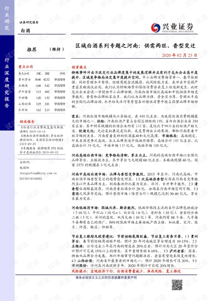河南区域白酒研究报告:供需两旺