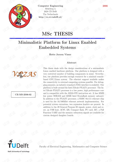 英文论文:Minimalistic Platform for Linux Enabled Embedded Systems
