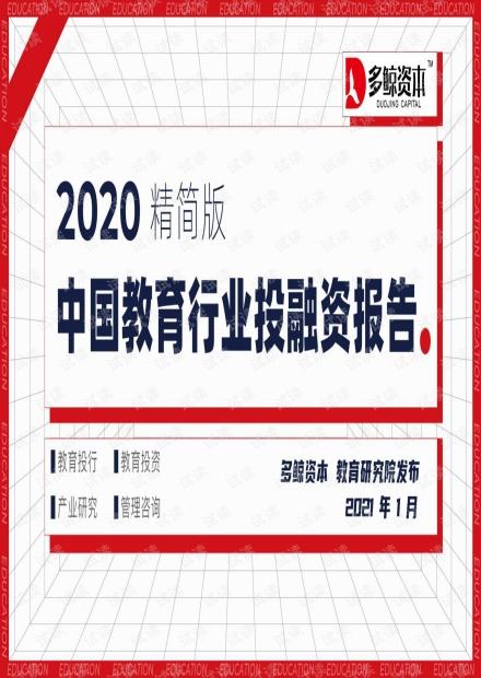 2020年中国教育行业投融资分析报告.pdf