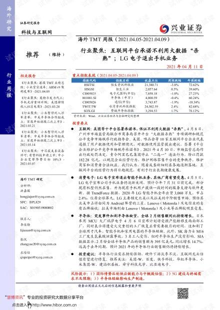 """20210411-兴业证券-海外TMT行业周报:行业聚焦,互联网平台承诺不利用大数据""""杀熟"""";LG电子退出手机业务.pdf"""