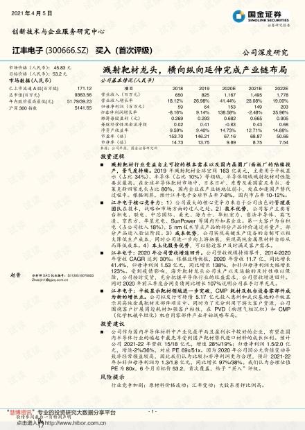 20210405-国金证券-江丰电子-300666-溅射靶材龙头,横向纵向延伸完成产业链布局.pdf
