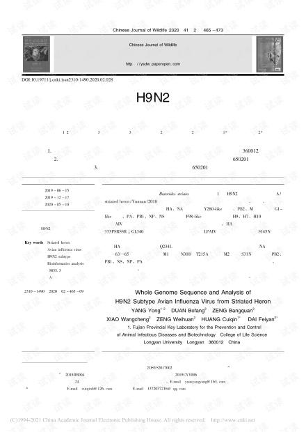 一株绿鹭源H9N2亚型禽流感病毒全基因组序列分析_杨勇.pdf