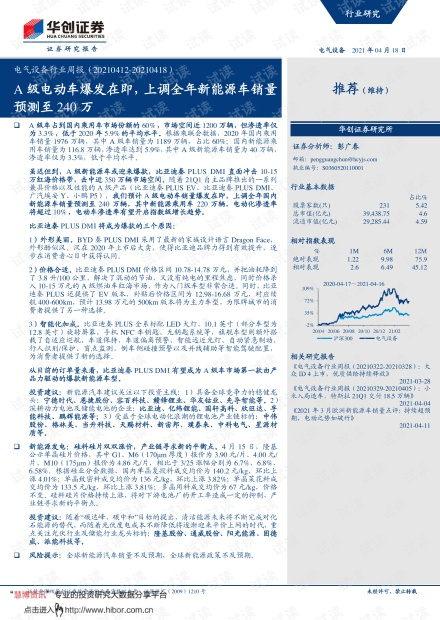 20210418-华创证券-电气设备行业周报:A级电动车爆发在即,上调全年新能源车销量预测至240万.pdf