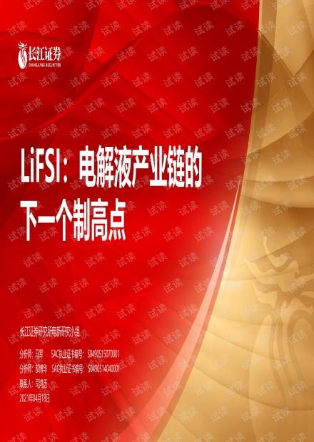 20210418-长江证券-电力设备新能源行业LiFSI:电解液产业链的下一个制高点.pdf