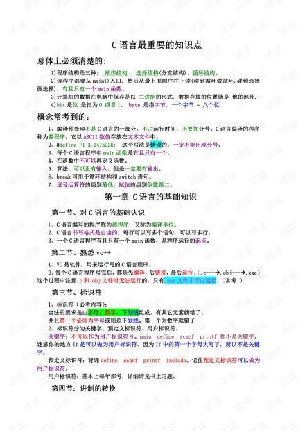 C语言知识点总结【完美版】(建议熟记).pdf