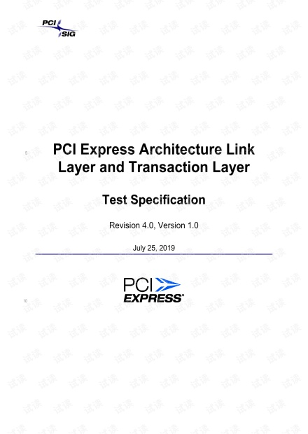 PCI Express Architecture Link Layer and Transaction Layer Test Specification