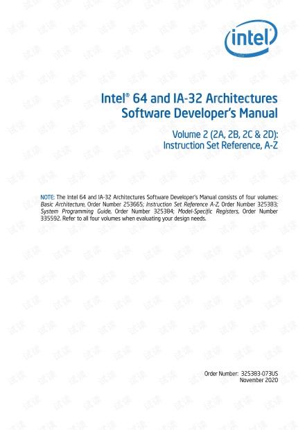 英特尔64和 IA-32 体系结构的软件开发人员手册卷2-指令集参考.pdf