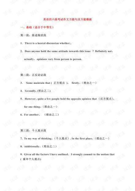 英语四六级考试作文万能句及万能模板.pdf