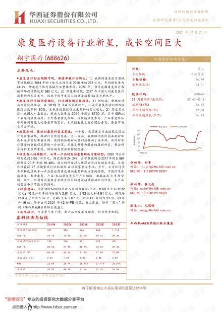 20210421-华西证券-翔宇医疗-688626-康复医疗设备行业新星,成长空间巨大.pdf
