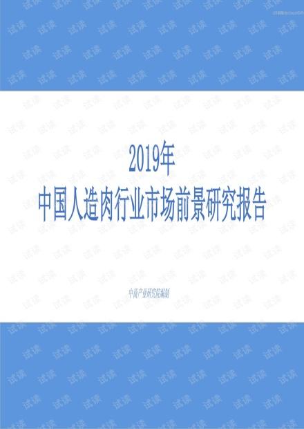 2019年中国人造肉行业市场前景研究报告.pdf