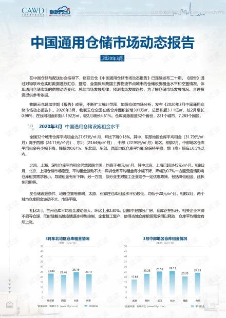 2020年3月中国通用仓储市场动态报告精品报告2020.pdf