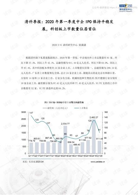 清科-季报:2020年第一季度中企IPO保持平稳发展,科创板上市数量位居首位-2020.4.pdf