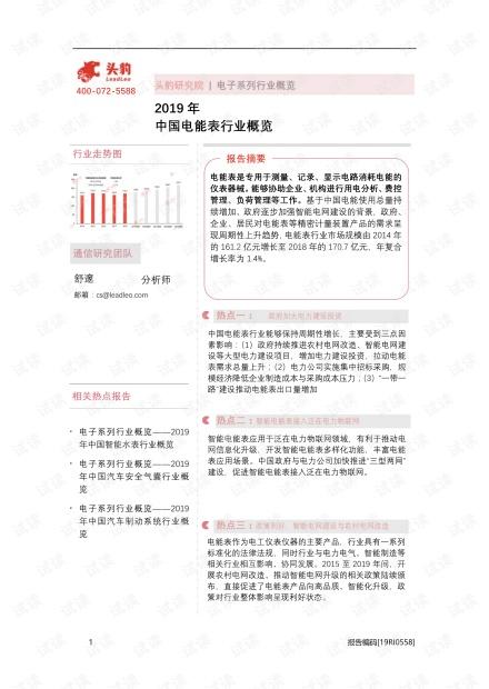 2019年中国电能表行业概览精品报告2020.pdf