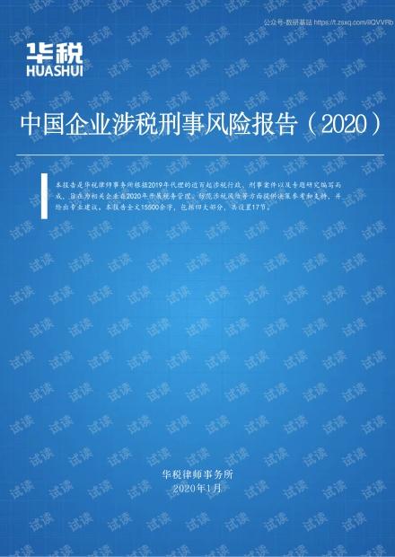 2020中国企业涉税刑事风险报告精品报告.pdf