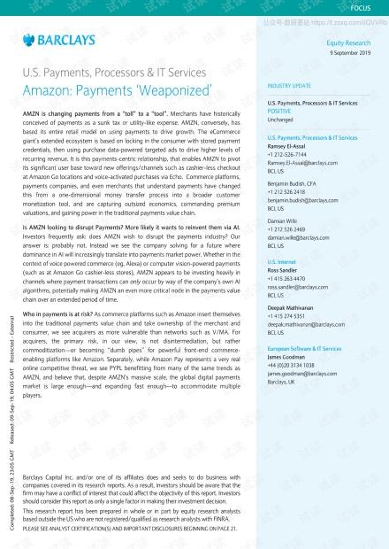 巴克莱-美股-支付与IT服务业-美国支付、处理器与IT服务:亚马逊的支付武装-2019.9.9-32页(1)精品报告.pdf