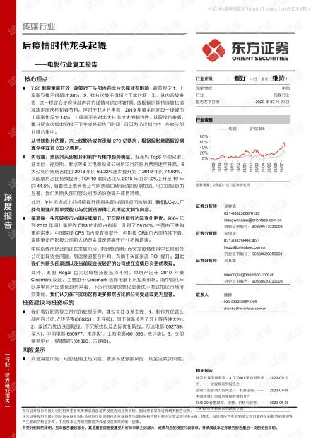电影行业复工报告:后疫情时代龙头起舞2020精品报告.pdf