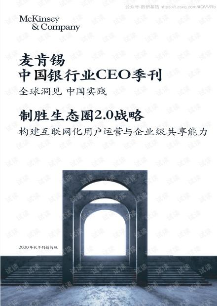麦肯锡-中国银行业CEO季刊:全球洞见中国实践,制胜生态圈2.0战略,构建互联网化用户运营与企业级共享能力精品报告2020.pdf