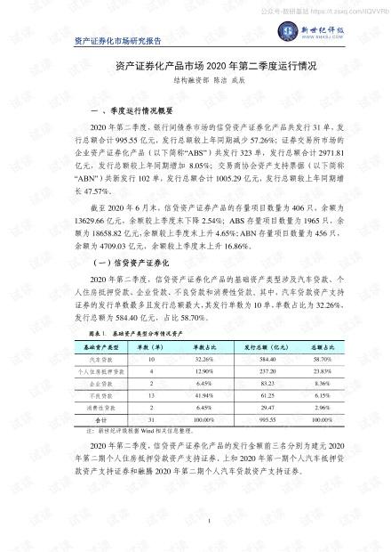 新世纪评级-资产证券化产品市场2020年第二季度运行情况-2020.7-8页精品报告2020.pdf