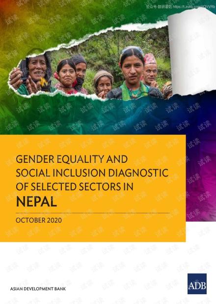 亚开行-尼泊尔某些部门的性别平等和社会包容性分析报告(英文)-2020.10-144页精品报告2020.pdf
