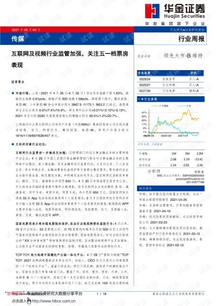 20210504-华金证券-传媒行业:互联网及视频行业监管加强,关注五一档票房表现.pdf