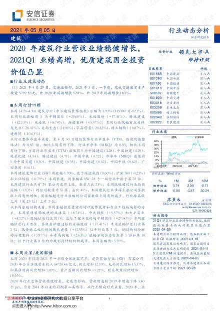 20210505-安信证券-建筑行业:2020年建筑行业营收业绩稳健增长,2021Q1业绩高增,优质建筑国企投资价值凸显.pdf