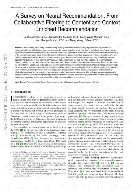 TKDE最新「神经推荐系统」综述论文