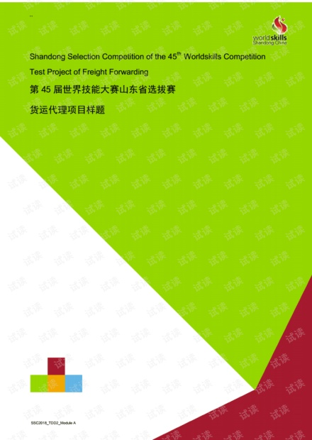 第45届世界技能大赛山东选拔赛货运代理项目样题_48143.pdf