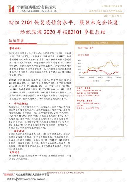 20210510-华西证券-纺织服装行业2020年报&21Q1季报总结:纺织21Q1恢复疫情前水平,服装未完全恢复.pdf