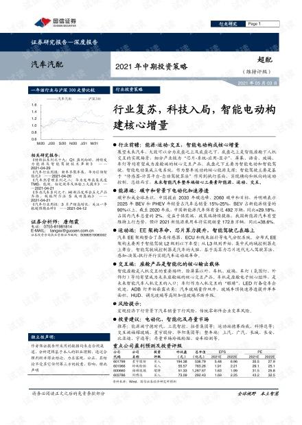 汽车汽配行业2021年中期投资策略-国信证券-2021.05.03-79页.pdf