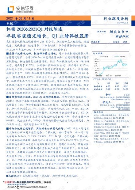 20210511-安信证券-机械行业2020&2021Q1财报综述:年报实现稳定增长,Q1业绩弹性显著.pdf