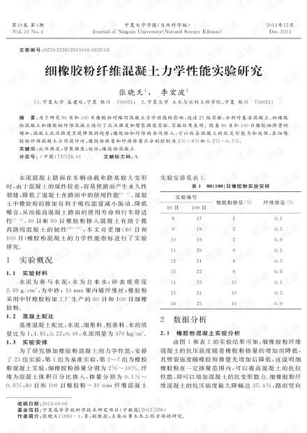 细橡胶粉纤维混凝土力学性能实验研究 (2013年)