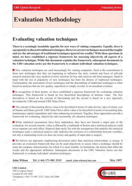 顶级投行、金融估值建模培训资料-瑞银UBS财务估值培训材料-Eval_Method.pdf