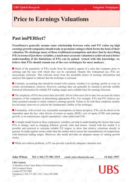 顶级投行、金融估值建模培训资料-瑞银UBS财务估值培训材料-PE_Val.pdf