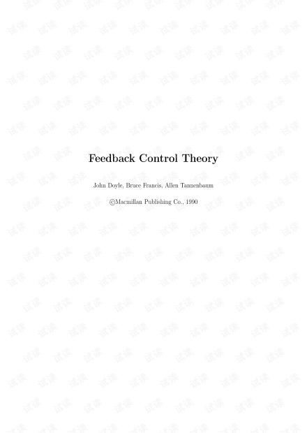 Classical Book: Feedback Control Theory-J.C.Doyle,B.Francis,A.Tannenbaum