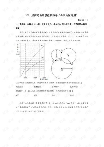 2021届高考地理模拟预热卷(山东地区专用).pdf