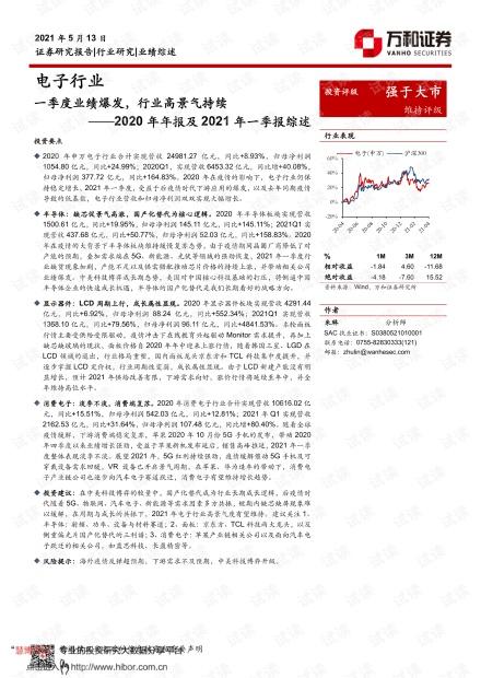 20210513-万和证券-电子行业2020年年报及2021年一季报综述:一季度业绩爆发,行业高景气持续.pdf