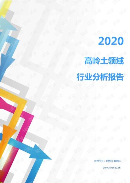 2020年冶金能源环保非金属矿产行业高岭土领域行业分析报告(市场调查报告).pdf