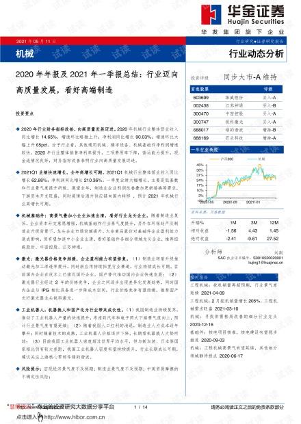 20210511-华金证券-机械行业2020年年报及2021年一季报总结:行业迈向高质量发展,看好高端制造.pdf